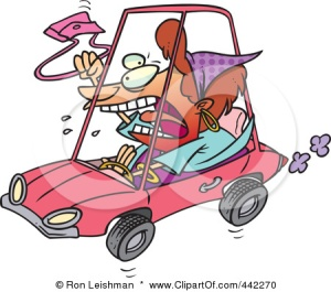 442270-Royalty-Free-RF-Clip-Art-Illustration-Of-A-Cartoon-Female-Driver-With-Road-Rage